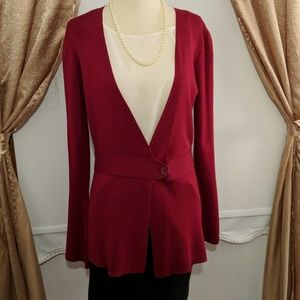 Max Studio Red Silk-blend Long Cardigan Small